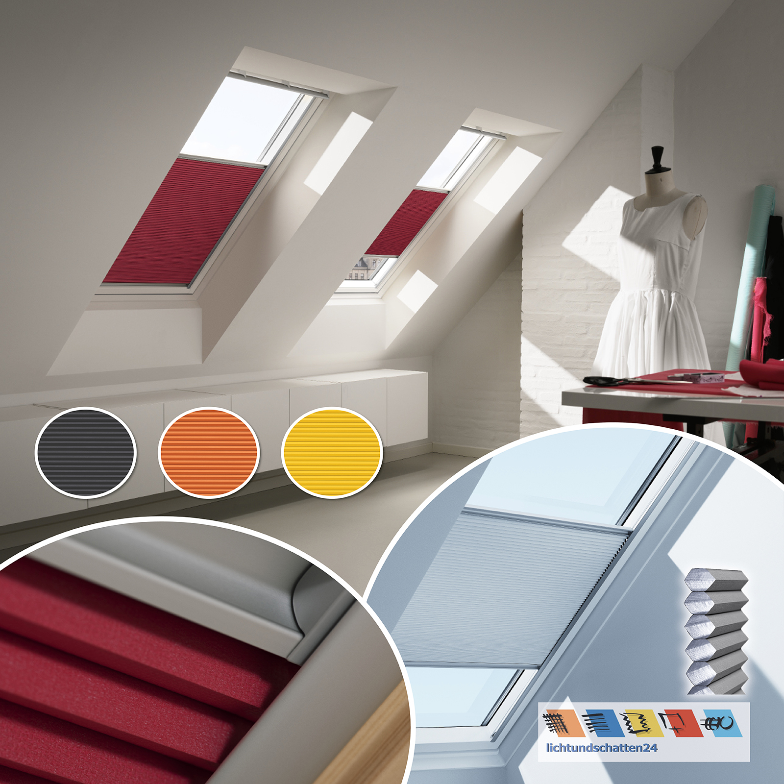 orig velux dachfenster wabenplissee gelb orange schwarz ggu gpu ghu gtu gxu ggl ebay. Black Bedroom Furniture Sets. Home Design Ideas